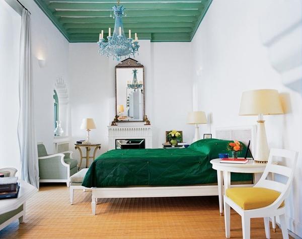 decoração teto verde