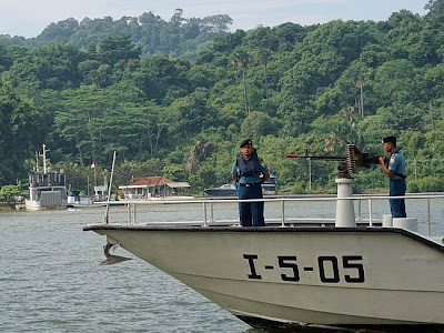 Patrolling the strait between Nusakambangan island and the mainland.