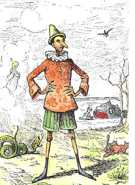 #PraCegoVer: Pinocchio, ilustração de Enrico Mazzanti.