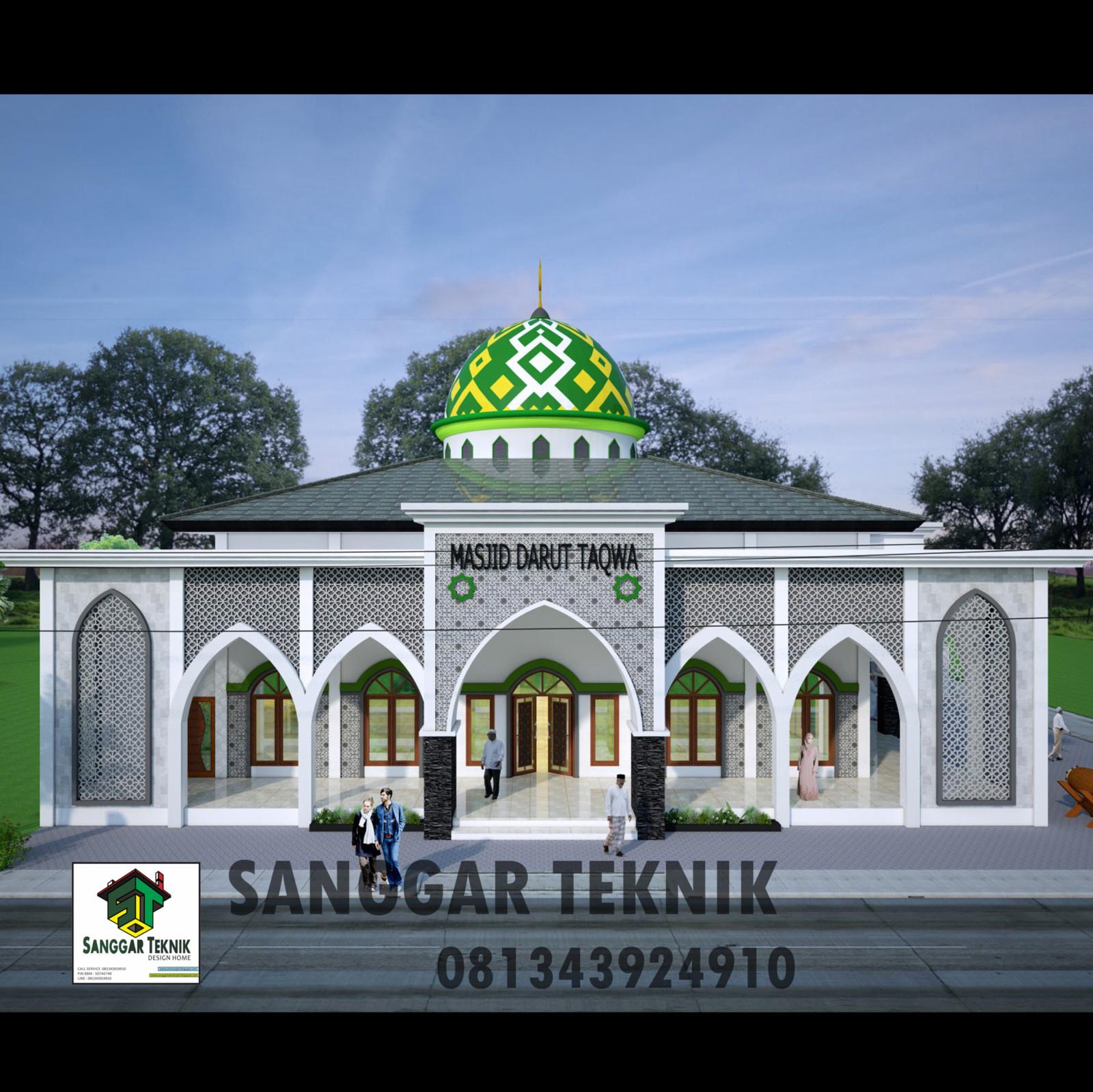 Gambar Desain Masjid Semi Minimalis Modern 2d 3d Dwg File
