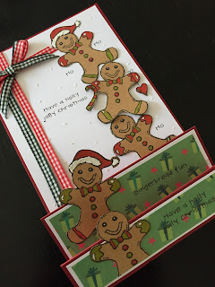 Hand Stamped Gingerbread Men Stepper Christmas Card