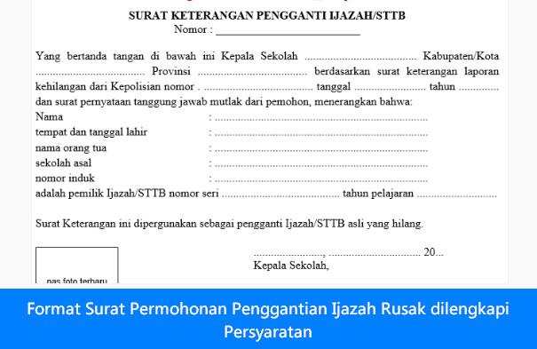 [Dokumen] Format Surat Permohonan Penggantian Ijazah Rusak dilengkapi Persyaratan [.doc]