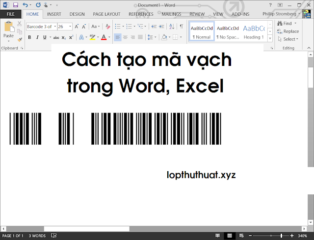 barcode in word 2019
