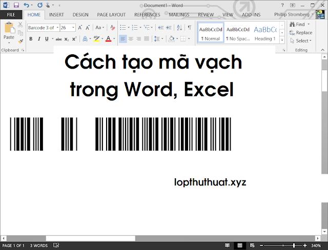 Cách tạo mã vạch trong Word, Excel đơn giản dễ dàng