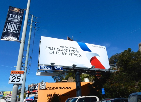 First Class LA NY American Airlines billboard