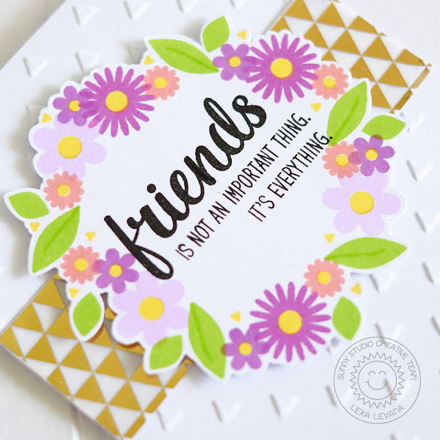 Sunny Studio Stamps: Friends & Family Floral Wreath Card by Lexa Levana