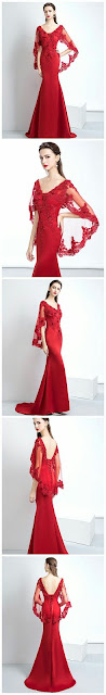 Red-sheer-sleeve-long-events-prom-dress