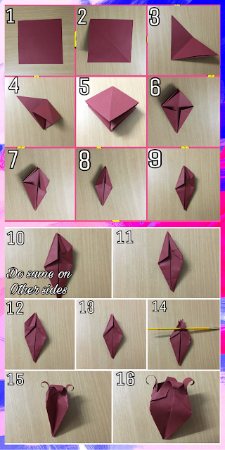 Love art through heart above depicted images shows how to make origami bell flower mightylinksfo