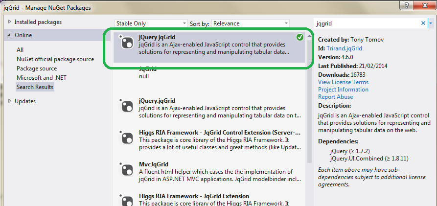 The ASP NET MVC Club: Step by step how to create a jqGrid