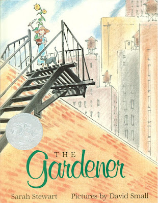Cover of The Gardener picture book showing little girl on rooftop