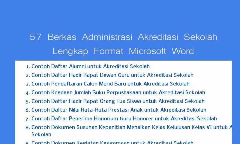 57 Berkas Administrasi Akreditasi Sekolah Lengkap Format Microsoft Word