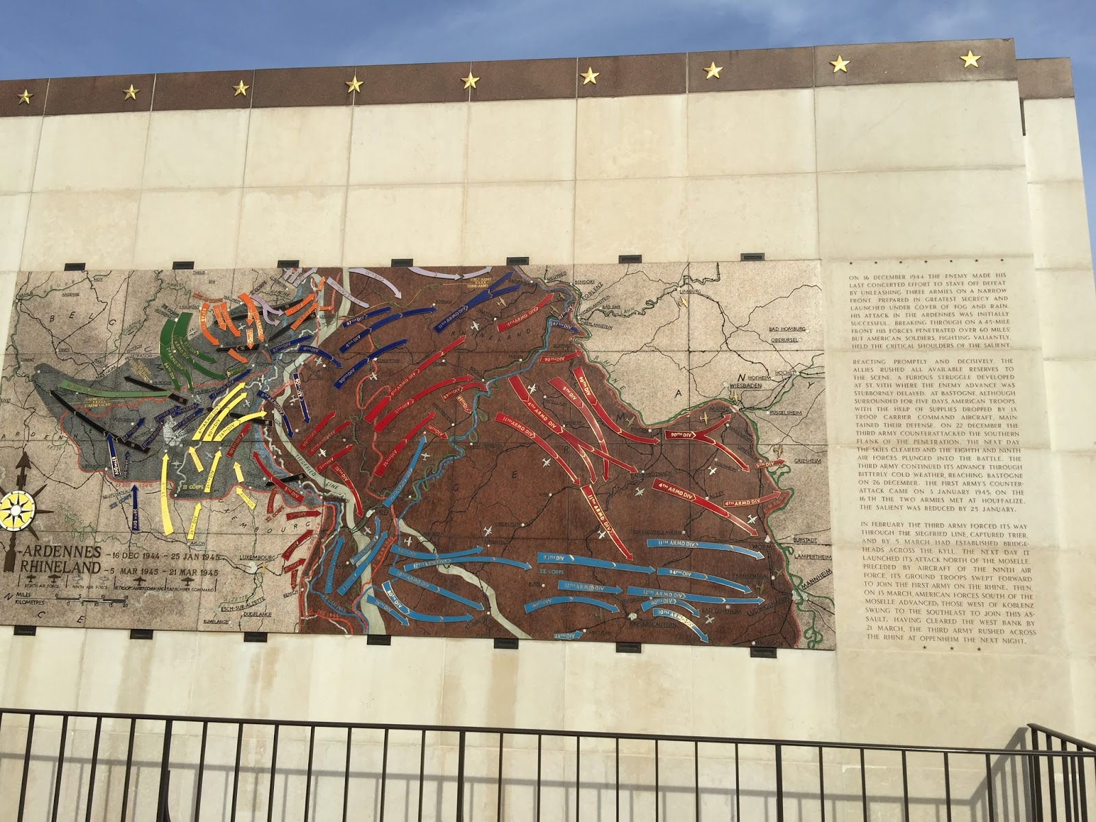 a major mural outlining many of the military campaigns to end world war ii many starting from the luxembourg region