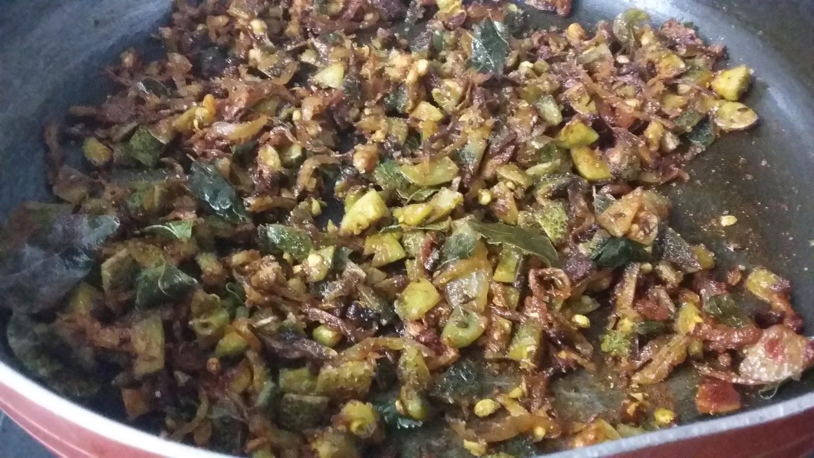 aakakarakaya fry or boda kakarakaya kura - aa kakarakaya