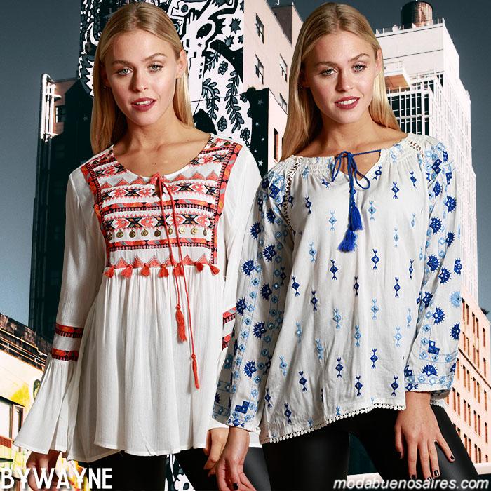 Túnicas, camisas y blusas invierno 2019 - Moda invierno 2019 blusas boho - Blusas románticas invierno 2019. Moda mujer.