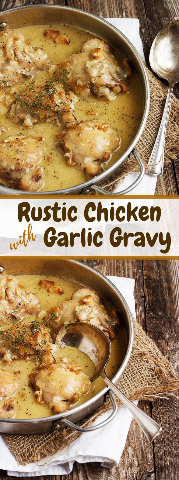 Rustic Chicken With Garlic Gravy #dinner #bestdinner