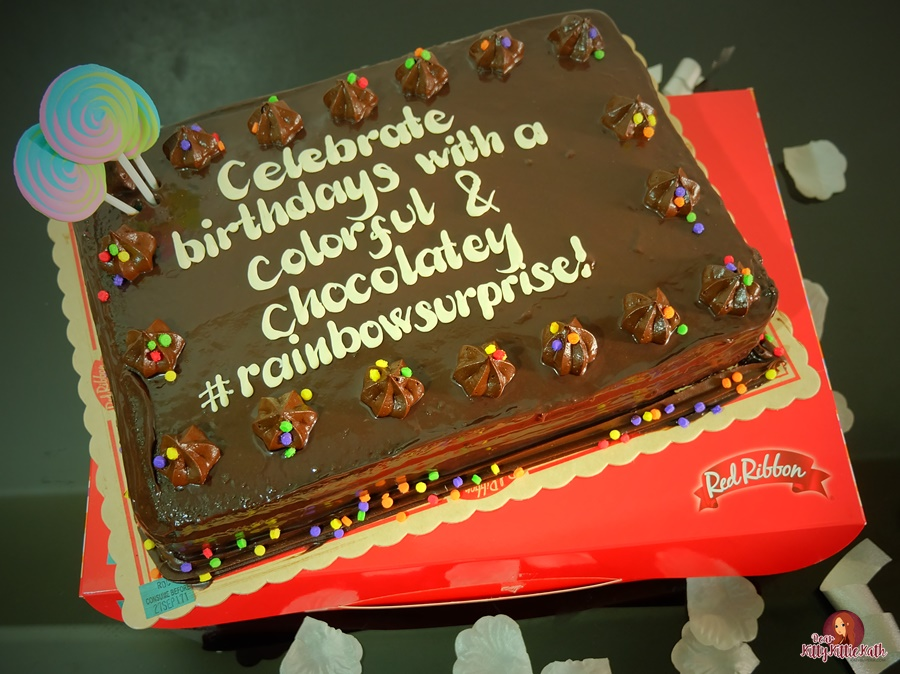 Phenomenal Red Ribbon Rainbow Dedication Cake Dear Kitty Kittie Kath Top Funny Birthday Cards Online Inifofree Goldxyz