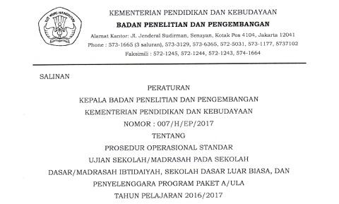 Peraturan Kepala Balitbang Kemdikbud Tentang POS US/M SD/MI, SDLB, dan Paket A/Ula Tahun Pelajaran 2016/2017