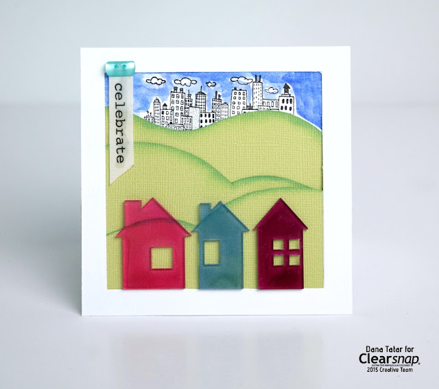 Housewarming Card with Colored Acrylic Houses by Dana Tatar for Clearsnap