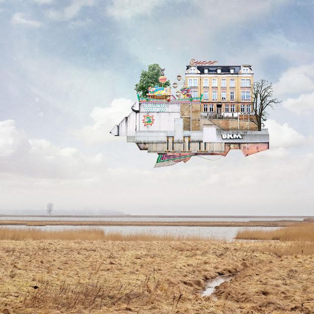 ちょっと不思議な建築のコラージュ作品5枚【a】