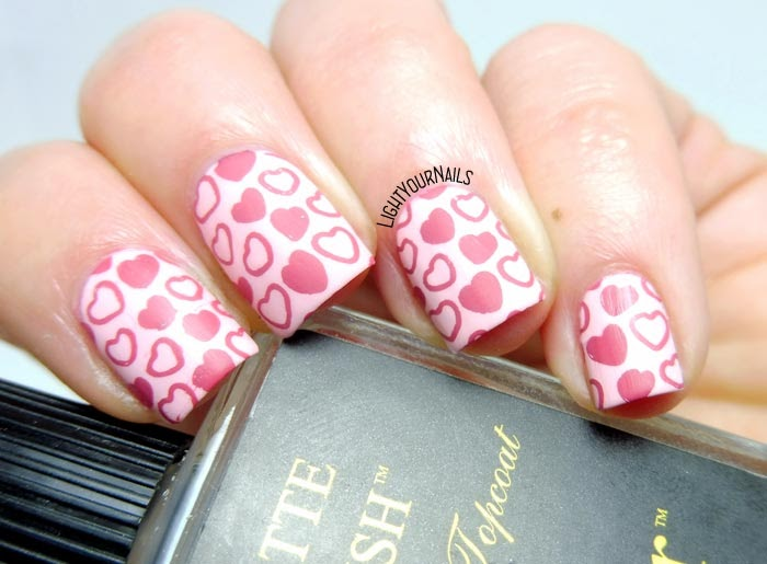 Stamping cuori rosa San Valentino pink hearts Valentine's Day #nailart #nailstamping #lightyournails