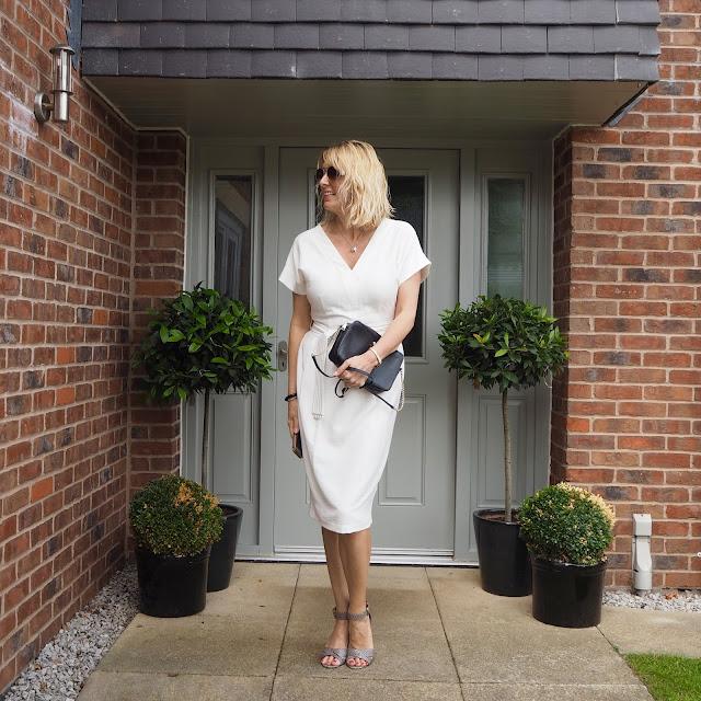 tailored white dress, office wear, corporate wear dress