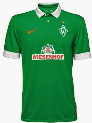 La segunda camiseta del werder bremen 2014-2015 tiene un diseño a rayas  negras y grises anchas con el tradicional color verde del club en el borde  del ... c2a94395f8ddf