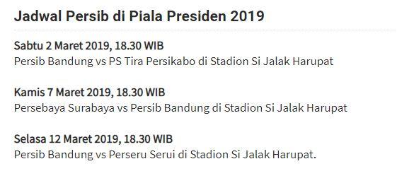Jadwal Persib Bandung di Grup A Piala Presiden 2019