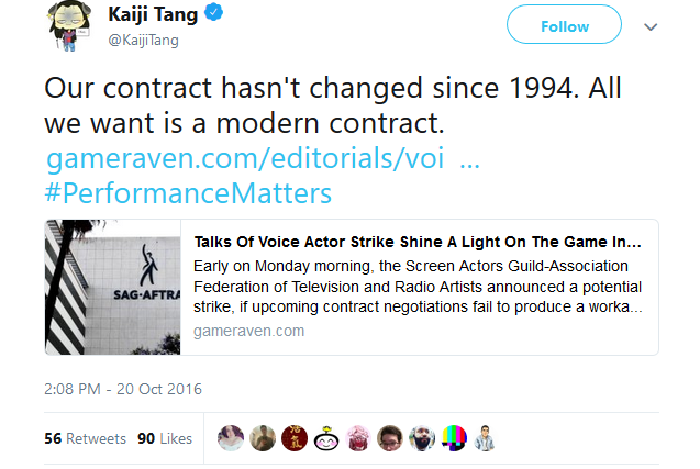 SAG-AFTRA #PerformanceMatters Kaiji Tang contract boycott strike video game companies voice acting