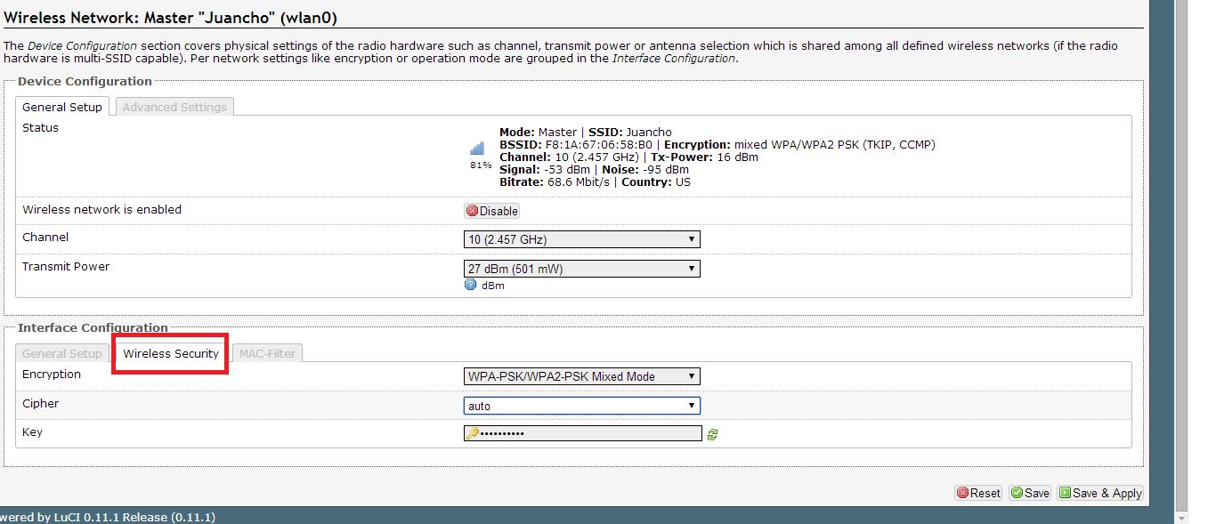 Confguración de red Wifi en OpenWRT
