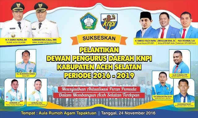 KNPI Aceh Selatan Dilantik pada 24 November 2016