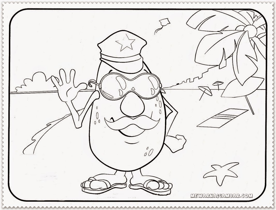 Free Coloring Pages Of Avocado Cartoon