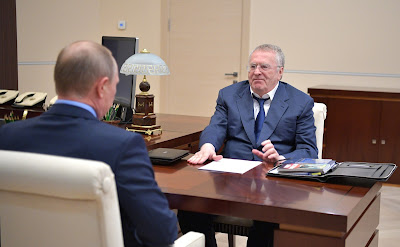 Russian President with the leader of the Liberal Democratic Party of Russia (LDPR) faction in the State Duma, Vladimir Zhirinovsky.