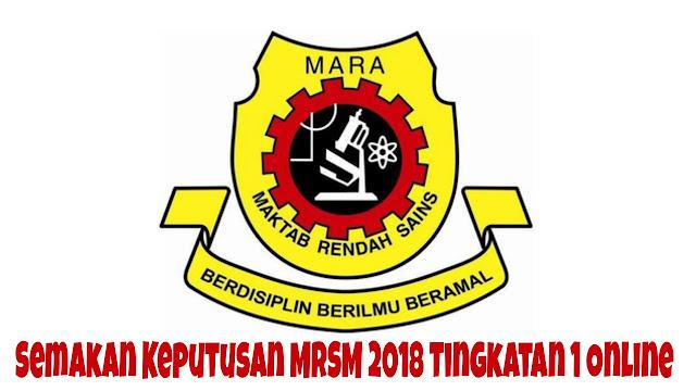 Semakan Keputusan MRSM 2018 Tingkatan 1 Online