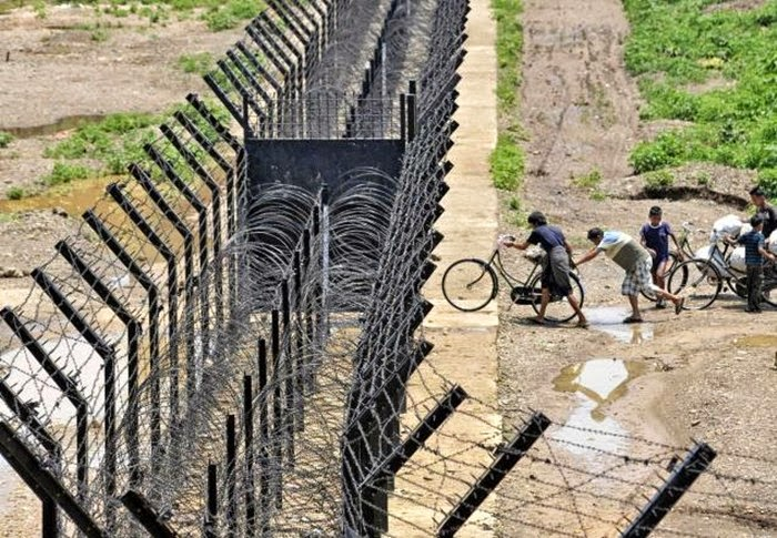 India and Myanmar Country Barbed Wire Border