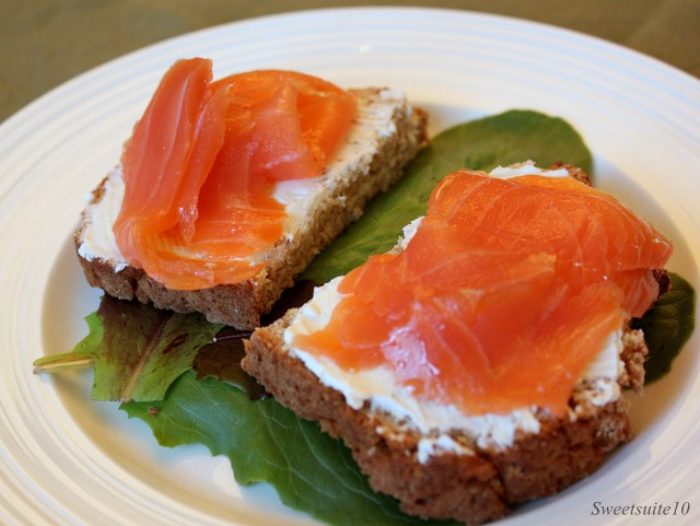 Lox and cream cheese on fresh brown bread