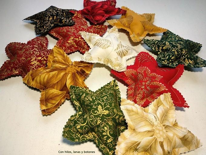 Con hilos, lanas y botones: Decoración de Navidad - Estrellas de tela