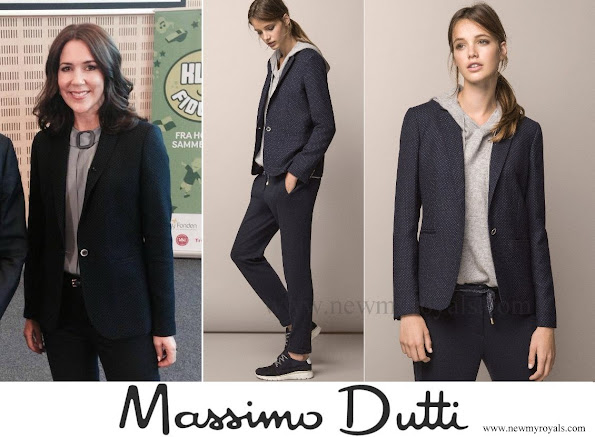 The Crown Princess wore Massimo Dutti Tiny Polka-Dot Print Jacket.
