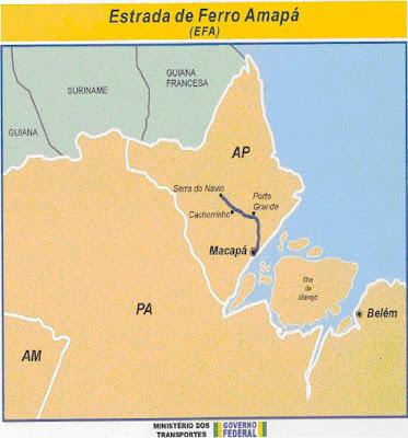 Resultado de imagem para mapa da estrada de ferro amapá