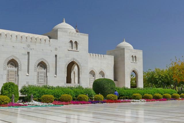 Nebengebäude, gross, Sultan, Qabus, Moschee, Muscat, Garten, weiss, Marmor