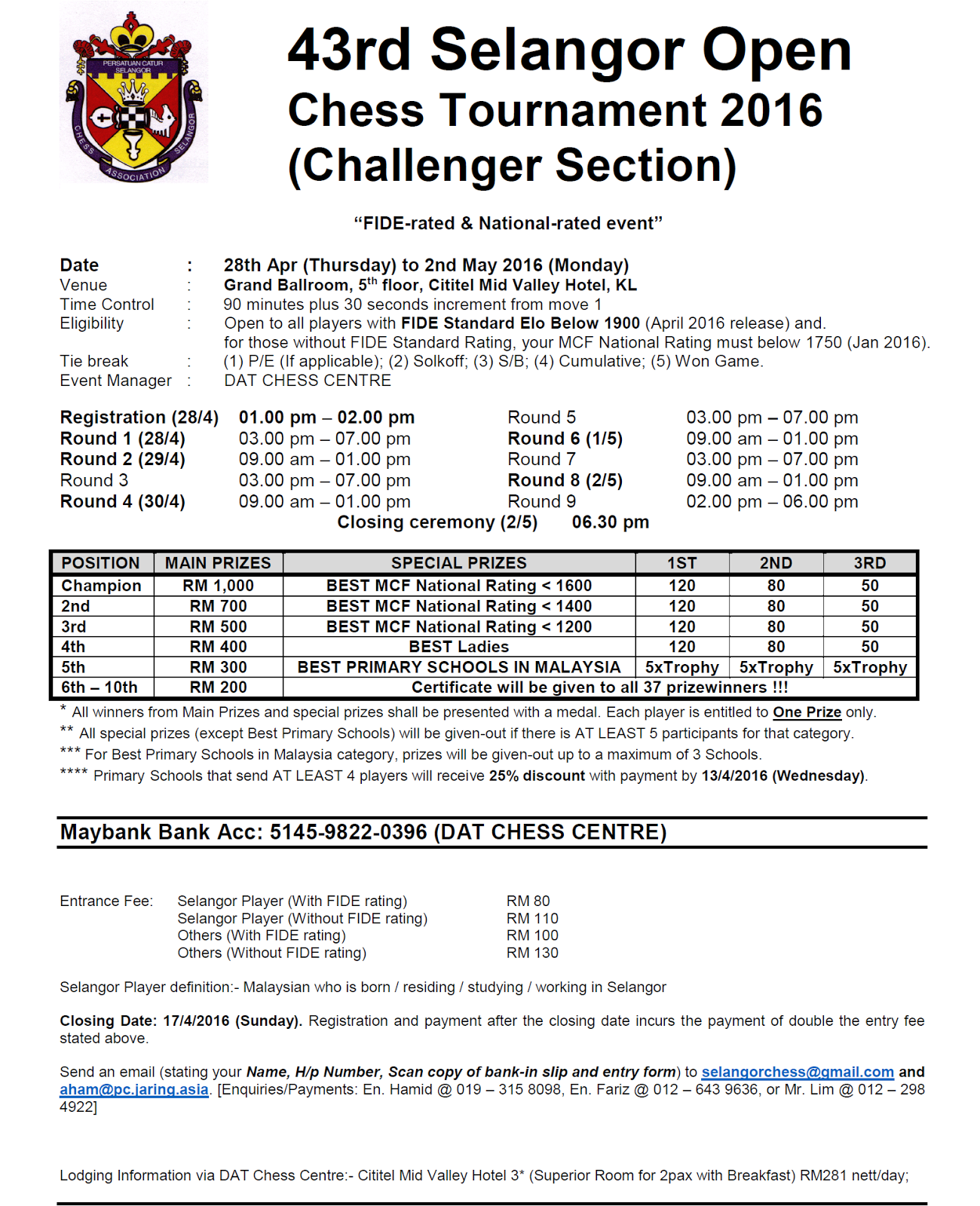 Malaysian chess 43rd selangor open 284 25 prospectus the challenger section entry form falaconquin
