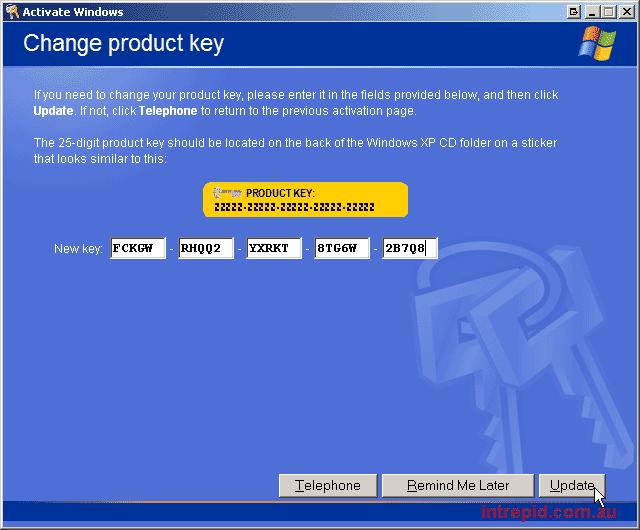 sp2 serial key