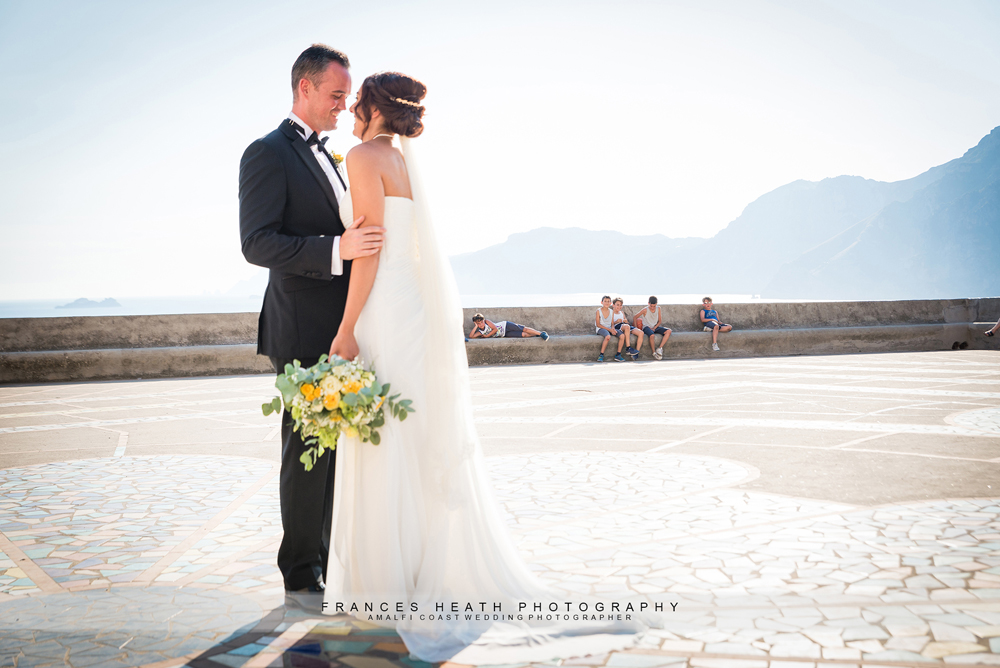 Bride and groom at San Gennaro church in Praiano