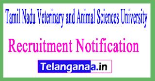 Tamil Nadu Veterinary and Animal Sciences University TANUVAS Recruitment Notification 2017