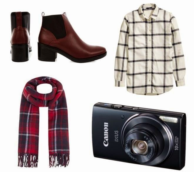A collage of the following items, dark red block heels, flannel shirt, dark pink and navy tartan check oversized scarf and a digital camera