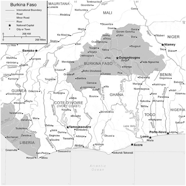 image: Black and white Burkina Faso Map