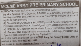 MCEME Army Public School Secunderabad Teachers, MTS, Gardner, Vice Principal Jobs Recruitment 2019