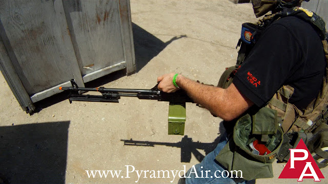 Brian Holt Echo1, Echo1 PKM, Echo1 PKM Machine Gun, PKM Prototype, Shooting from the hip, hip firing, Pyramyd Airsoft Blog, Pyramyd Air, Tom Harris Media, Tominator,