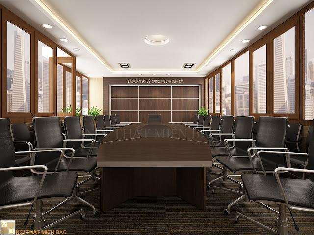 Hệ thống nội thất trong thiết kế nội thất phòng họp này thật tiện nghi, sang trọng để mang đến dấu ấn tích cực cho doanh nghiệp