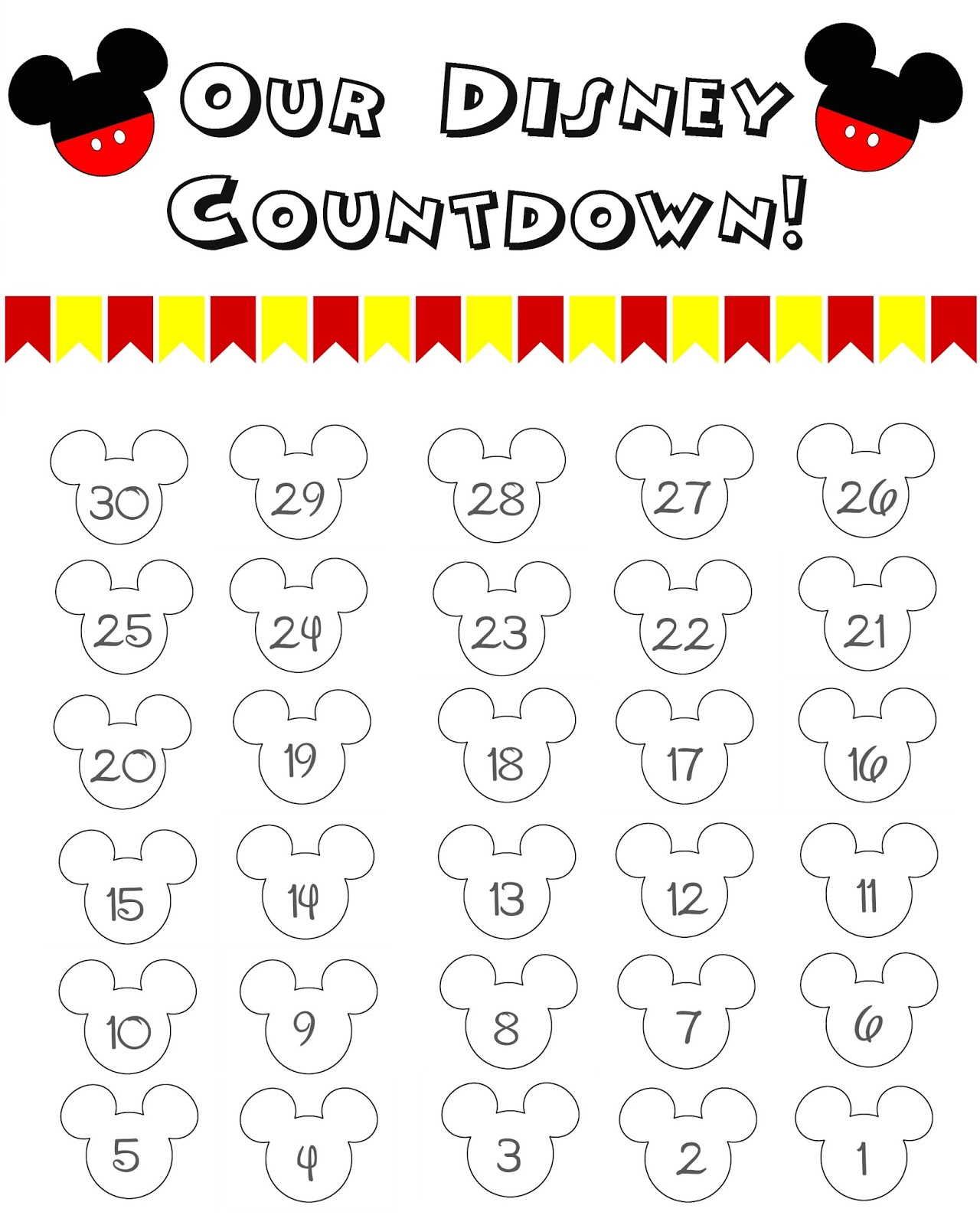 Countdown Calendar, Disney World Countdown Calendar, Disney Printable ...