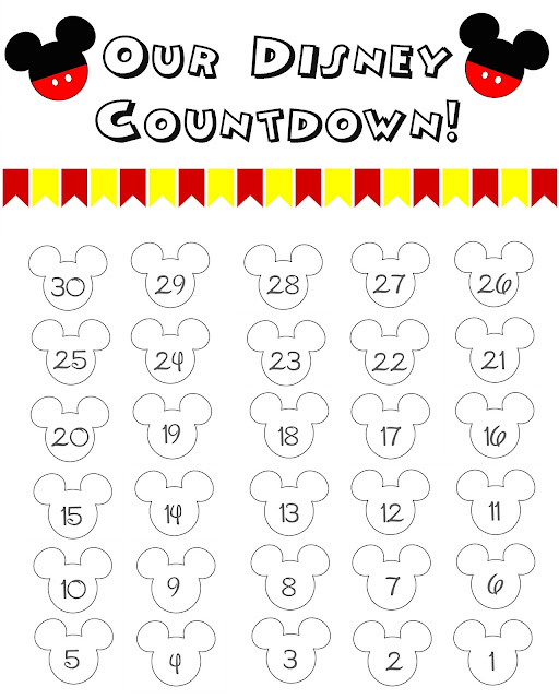 Disney Countdown Calendar, Disney World Countdown Calendar, Disney Printable Countdown Calendar, Disney Printable